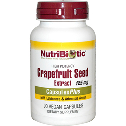 NutriBiotic Grapefruit Seed Liquid Extract Capsules Plus 125mg With Echinacea & Artemisia Annua